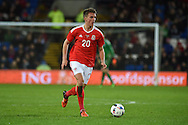 Emyr Huws of Wales  in action.Vauxhall International football friendly, Wales v The Netherlands at the Cardiff city stadium in Cardiff, South Wales on Friday 13th November 2015. pic by Andrew Orchard, Andrew Orchard sports photography.