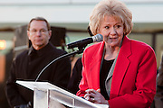 27 DECEMBER 2008 -- PHOENIX, AZ: US Secretary of Transportaion Mary Peters addresses the crowd at the opening of light rail.  Metro Light Rail started running Saturday, Dec. 28. The light rail line is 20 miles long and cost $1.4 billion dollars. PHOTO BY JACK KURTZ