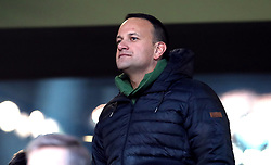 Irish Taoiseach Leo Varadkar in the stands singing the national anthem during the Guinness Six Nations match at the Aviva Stadium, Dublin.