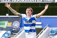 Queens Park Rangers forward Jordan Hugill (9) protests to the assistant referee during the EFL Sky Bet Championship match between Queens Park Rangers and Barnsley at the Kiyan Prince Foundation Stadium, London, England on 20 June 2020.