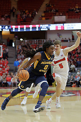 09 December 2017:  Matt Hein defends an on the go Terrell Miller Jr. during a College mens basketball game between the Murray State Racers and Illinois State Redbirds in  Redbird Arena, Normal IL