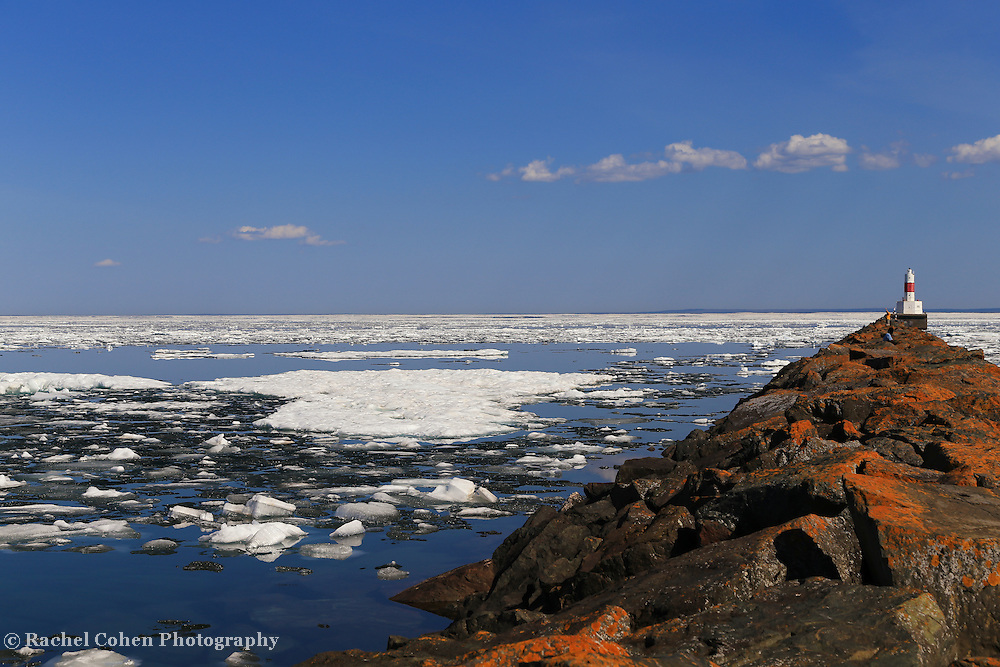 """Presque Isle Harbor on Ice""<br /> <br /> Presque Isle Harbor Lighthouse and breakwater in Marquette Michigan."