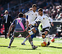Valencia CF's  Pablo Piatti and Rayo Vallecano's Quini during La Liga match. January 17, 2016. (ALTERPHOTOS/Javier Comos)