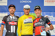 Steve Cummings (centre) of Great Britain and Team Dimension Data Tom Dumoulin (left) (NED) of Team Giant - Alpecin and Rohan Dennis (right) (AUS) of BMC Racing Teamduring the Tour of Britain 2016 stage 8 , London, United Kingdom on 11 September 2016. Photo by Mark Davies.