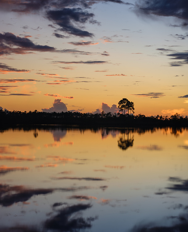 MIAMI, FLORIDA - CIRCA SEPTEMBER 2018:  Sunset over the Florida Everglades near Miami.