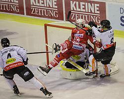 18.12.2015, Stadthalle, Klagenfurt, AUT, EBEL, EC KAC vs Dornbirner Eishockey Club, 32. Runde, im Bild Nick Crawford (Dornbirner Eishockey Club, #4), Robert Lembacher (Dornbirner Eishockey Club, #81), Florian Hardy (Dornbirner Eishockey Club, #49), Patrick Harand (EC KAC, 16) // during the Erste Bank Eishockey League 32nd round match match betweeen EC KAC and Dornbirner Eishockey Club at the City Hall in Klagenfurt, Austria on 2015/12/18. EXPA Pictures © 2015, PhotoCredit: EXPA/ Gert Steinthaler