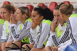 16.06.2011, Bruchwegstadion, Mainz, FIFA WOMENS WORLDCUP 2011, Deutschland (GER) vs. Norwegen (NOR), im Bild  Fatmire Bajramaj (Deutschland #19, Frankfurt) 3 von rechts, beobachtet das Spiel in der ersten Halbzeit von der Bank aus waehrend eines Vorbereitungsspiels // during a friendly match on 2011/06/16, Bruchwegstadion, Mainz, Germany. + EXPA Pictures © 2011, PhotoCredit: EXPA/ nph/  Roth       ****** out of GER / SWE / CRO  / BEL ******
