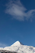 Snow-capped mountain captured from low angle, Nesna, Norway