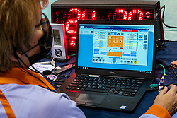 Crew and laptop statistics in action during the CEV Eurovolley 2021 Qualifiers between Sweden and Croatia at Topsporthall Omnisport on May 15, 2021 in Apeldoorn, Netherlands