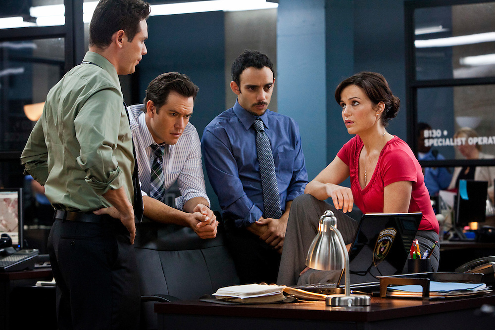 Kevin Alejandro, Mark Paul Gosselaar, Omid Abtahi and Carla Gugino in 'Hide' from TNT's Mystery Movie Night, based on Lisa Gardner's book of the same name.