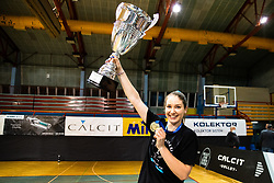 Katja Mihevc of Calcit Volley with medal and trophy after 3rd Leg Volleyball match between Calcit Volley and Nova KBM Maribor in Final of 1. DOL League 2020/21, on April 17, 2021 in Sportna dvorana, Kamnik, Slovenia. Photo by Matic Klansek Velej / Sportida
