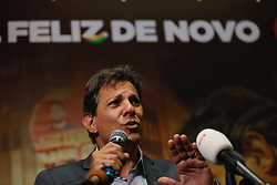 October 10, 2018 - Sao Paulo, Brazil - FERNANDO HADDAD candidate of the Workers' Party to the presidency of Brazil during a press conference for the foreign press to discuss the information that his competitor will not attend the first television debate of the second round of elections. (Credit Image: © Marcelo Chello/ZUMA Wire)