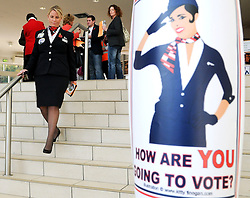 FILE PICTURE ©London News Pictures. 29/11/2010. British Airways cabin crew are to be balloted for fresh strikes in their long-running dispute with the airline, the Unite union said today..  Photo credit should read Stephen Simpson/London News Pictures