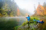 David Page spey casts to trout, Vancouver Island, BC
