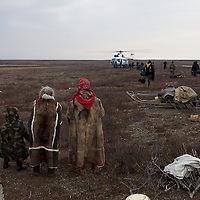 Sept 2009 Yamal Peninsula, Siberia, Russia - global warming impacts story on the Nenet people , reindeer herders in the Yamal Peninsula family of three generations in the Vanuta family
