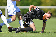 Hawkes Bay United's Hugo Delhommelle goes down in a tackle in the Handa Premiership football match, Hawke's Bay United v Hamilton Wanderers, Bluewater Stadium, Napier, Sunday, November 15, 2020. Copyright photo: Kerry Marshall / www.photosport.nz