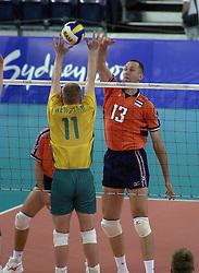 19-09-2000 AUS: Olympic Games Volleybal Nederland - Australie, Sydney<br /> Nederland wint vrij eenvoudig van Australie met 3-0 / Martin van der Horst