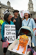 Thousands turned out to protest against US President Trumps visit to London, June 4th 2019, London, United Kingdom. A Trump dummy in a buggy.