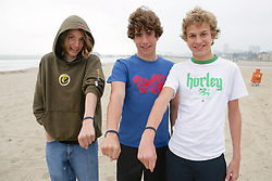 Spencer Blattel, Ian Simon, Joe Marcus Showing Ocean Revolution Wrist Bands On Santa Monica Beach
