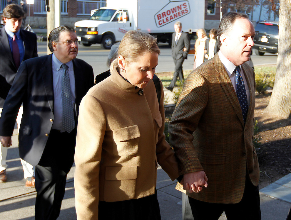 CHARLOTTESVILLE, VA - FEBRUARY 06: George Huguely's mother, Marta Murphy, walks into the Charlottesville Circuit Courthouse for her son George Huguely's trial. Huguely was charged in the May 2010 death of his girlfriend Yeardley Love. She was a member of the Virginia women's lacrosse team. Huguely pleaded not guilty to first-degree murder. (Credit Image: © Andrew Shurtleff/