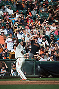 San Francisco Giants third baseman Pablo Sandoval (48) looks for a Colorado Rockies pop fly at AT&T Park in San Francisco, California, on September 20, 2017. (Stan Olszewski/Special to S.F. Examiner)