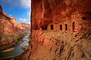 Ancient Anaszi ruins high above the Colorado River in the Marble Canyon section of Grand Canyon National Park