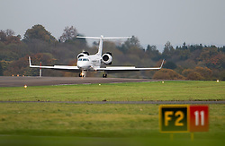 © Licensed to London News Pictures. 30/10/2015. London, UK. A plane carrying former Guantanamo Bay detainee Shaker Aamer arrived at Biggin Hill airport.  Photo credit: Ben Cawthra/LNP