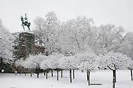 equestrian statue at the Hohenzollernbridge, Franken square, snow, winter, Cologne, Germany.<br /> <br /> Reiterdenkmal an der Hohenzollernbruecke, Frankenplatz, Schnee, Winter, Koeln, Deutschland.