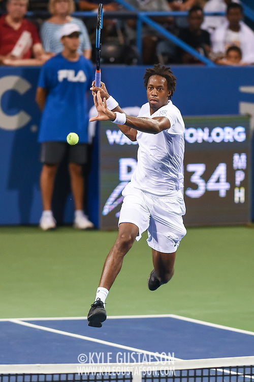 GAEL MONFILS hits a volley during his second round match at the Citi Open at the Rock Creek Park Tennis Center in Washington, D.C.
