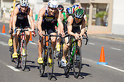 Participants during the elite mens race at the Discovery Triathlon World Cup Cape Town 2017. Image by Greg Beadle