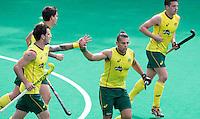 ANTWERP -   Chris Ciriello (m) has scored 0-3 for Australia  during  the hockeymatch   India vs Australia.  left Kieran Govers.  WSP COPYRIGHT KOEN SUYK