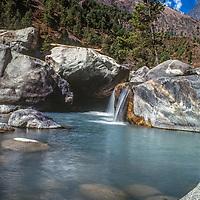 A stream flows through the Khumbu region of Nepal's Himalaya.