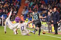 Real Madrid's Alvaro Morata and Lucas Vazquez and Real Sociedad's Joseba Zaldua during La Liga match between Real Madrid and Real Sociedad at Santiago Bernabeu Stadium in Madrid, Spain. January 29, 2017. (ALTERPHOTOS/BorjaB.Hojas)