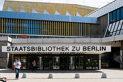 Exterior view of entrance to Staatsbibliothek , city library, in Berlin Germany