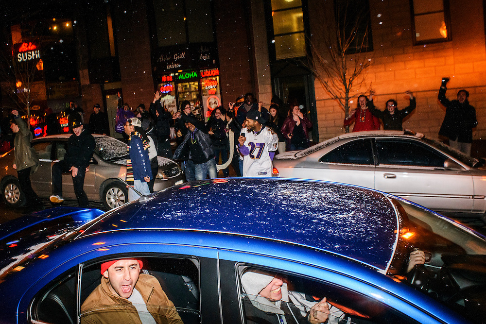 Photo by Matt Roth..Ravens fans became celebratory in the streets of Baltimore after defeating the San Francisco 49ers in the Super Bowl Sunday, February 03, 2013.