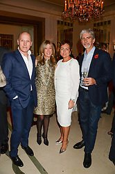 "Left to right, PEREGRINE & CAROLINE ARMSTRONG-JONES and DAMON & GEORGIE HILL at an ""Evening With Damon Hill'  a dinner and talk in aid of the Downs Syndrome Association held at Claridge's, Brook Street, London on 7th November 2013."