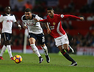 Kyle Walker of Tottenham tussles with  Marcus Rashford of Manchester United during the English Premier League match at Old Trafford Stadium, Manchester. Picture date: December 11th, 2016. Pic Simon Bellis/Sportimage