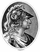 Alexander the Great (Alexander III of Macedon) 356-323 BC. Romanticised portrayal of Alexander  in plumed helmet. Stipple engraving London c1800