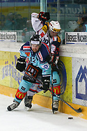 15.03.2011, Rapperswil-Jona, Eishockey NLA Playout, Rapperswil-Jona Lakers - HC Ambri-Piotta, Andreas Furrer (LAK) gegen Elias Bianchi (AMB)  (Thomas Oswald/hockeypics)