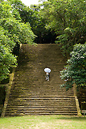 The main staircase at Ershawan Fort, near Keelung, Taiwan.  The fort dates back to the 1840's and has repelled the British, French and Chinese navies.