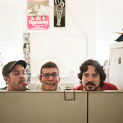 From left to right: Brian Bangs, Meat Ball and Spock Buckton, co-founders of PopPorn, an american website interested into alternative porn etc. 22 June 2010. Photo: Antoine Doyen