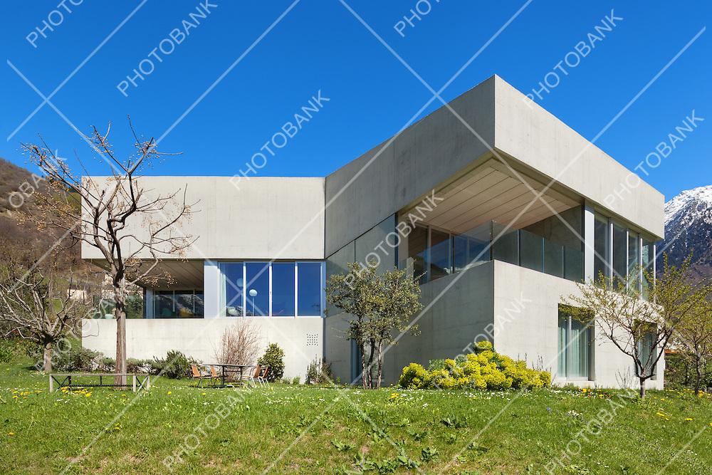 Architecture modern design, concrete house with garden