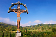 Christian Orthodox Crucifiction. Barsana. Maramures, Northern Transylvania, Romania .<br /> <br /> Visit our ROMANIA HISTORIC PLACXES PHOTO COLLECTIONS for more photos to download or buy as wall art prints https://funkystock.photoshelter.com/gallery-collection/Pictures-Images-of-Romania-Photos-of-Romanian-Historic-Landmark-Sites/C00001TITiQwAdS8<br /> .<br /> Visit our MEDIEVAL PHOTO COLLECTIONS for more   photos  to download or buy as prints https://funkystock.photoshelter.com/gallery-collection/Medieval-Middle-Ages-Historic-Places-Arcaeological-Sites-Pictures-Images-of/C0000B5ZA54_WD0s