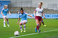 Manchester City Women defender Demi Stokes (3) and West Ham United Women forward Alisha Lehmann (7) in action during the FA Women's Super League match between Manchester City Women and West Ham United Women at the Sport City Academy Stadium, Manchester, United Kingdom on 17 November 2019.