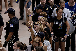 October 4, 2018 - Washington, District of Columbia, United States - Hundreds of protesters have taken over the atrium of the Senate Hart Office Building on Thursday afternoon as the supplementary FBI probe into BRETT KAVANAUGH has been delivered and as the Senate is expected to move forward on his confirmation (Credit Image: © Douglas Christian/ZUMA Wire)