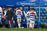 Football - 2020 / 2021 Sky Bet Championship - Queens Park Rangers vs AFC Bournemouth - Kiyan Prince Foundation Stadium<br /> <br /> Stefan Johansen (Queens Park Rangers) is substituted by Mark Warburton, Manager of Queens Park Rangers, after scoring and before the teams can restart the game <br /> <br /> COLORSPORT/DANIEL BEARHAM