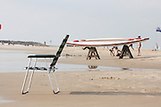 Israel, Herzliya The beach flat board surfboat AKA Hasakeh.