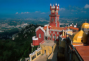 PORTUGAL, SINTRA AND PENA PALACE an architectural fantasy of neo-Gothic and Manueline styles, built in the 1840's for the royal family