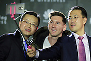 BARCELONA, March 18,  2016  <br /> <br /> FC Barcelona's Argentinian forward Lionel Messi (C), Tyrone Liu (L), CEO Consumer Business Group for Huawei Latin America, and Kevin Ho, President of Handset Business of Huawei Consumer BG, take a selfie during a press conference in which Huawei announces Messi's appointment as the company's latest Global Brand Ambassador in Barcelona, Spain, March 17, 2016. <br /> ©Exclusivepix Media