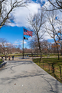 Washington, DC, USA -- February 14, 2020. An American Flag waves in the breeze over Potomac Park in Washington, DC.
